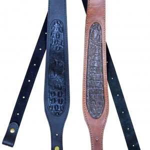 60mm Tapered Genuine Leather Croc Inlay Gun Sling