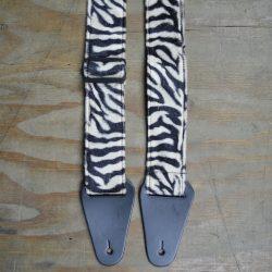 Brown & Black Zebra Faux Fur Guitar Strap