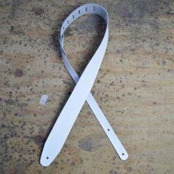 White 2.5″ Leather Guitar Strap