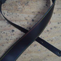 Rainbow Stitched Black 2.5″ Leather Guitar Strap
