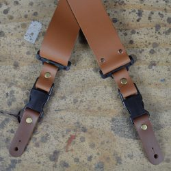Clip Buckle Tan Leather Guitar Strap