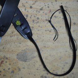 Black Leather Banjo Cradle Strap With Lacing
