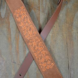 Leaves Embroidered Tan Suede Guitar Strap