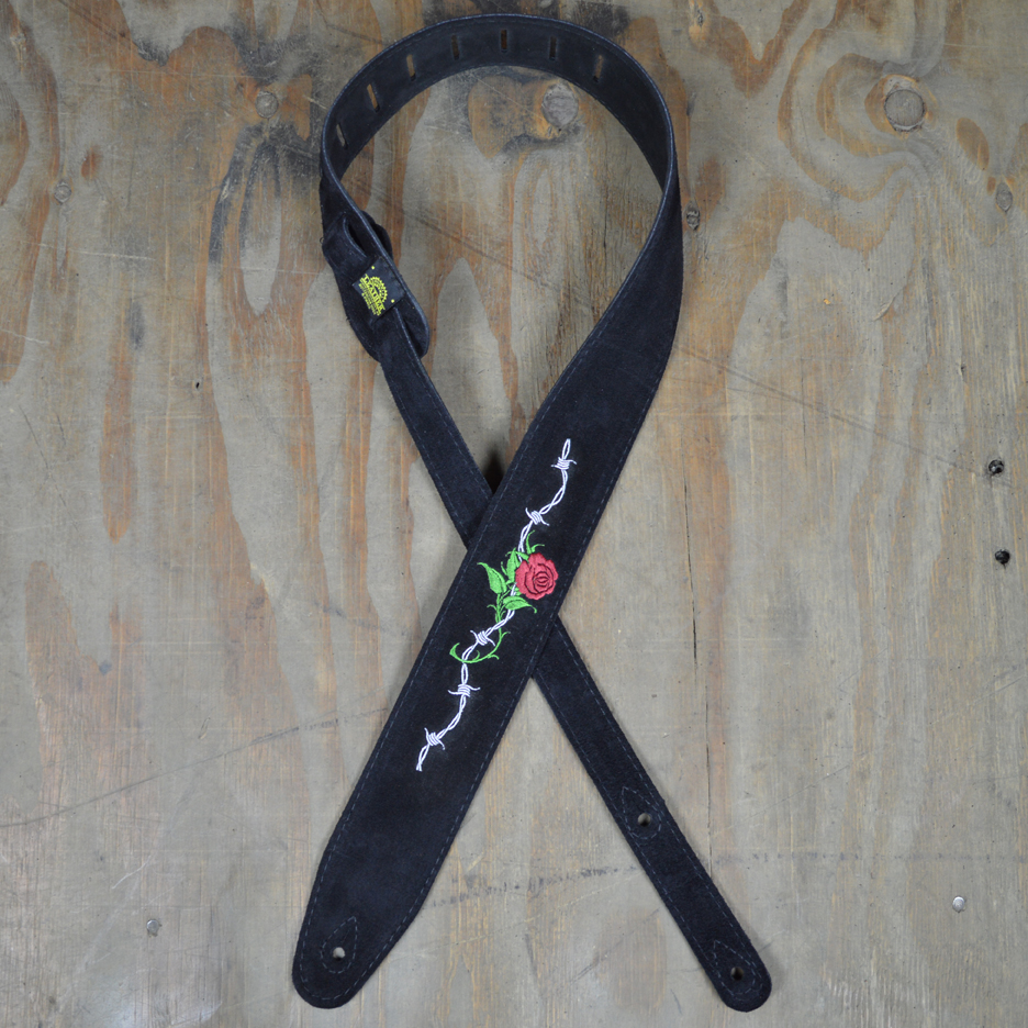 Rose & Barbed Wire Embroidered Black Suede Guitar Strap - Colonial ...