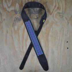 Blue Pattern Embroidered Black Suede Guitar Strap