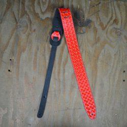 2.5″ Suede Backed Red Hologram Guitar Strap