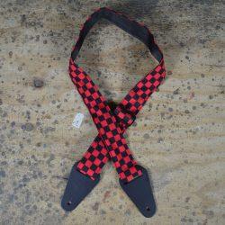 Red & Black Check Rag Guitar Strap
