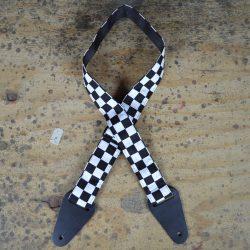 Black & White Check Rag Guitar Strap