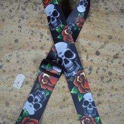 Black Skull Printed Webbing Guitar Strap