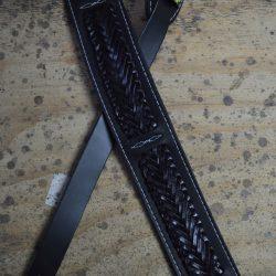 Black Soft Leather with Black Plait Guitar Strap