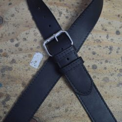 Stitched Black Leather with HD Buckle Guitar Strap
