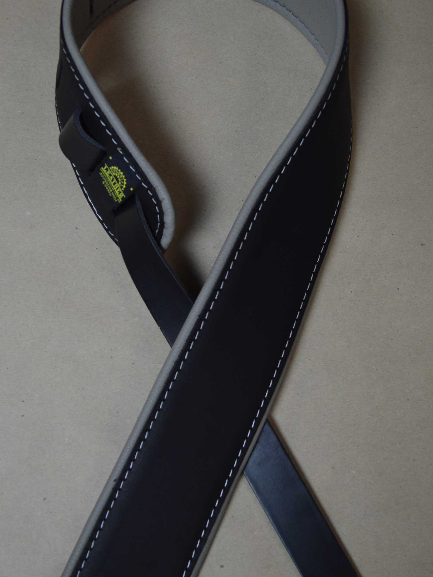 2.5″ Padded Upholstery Leather Guitar Strap Black & Grey