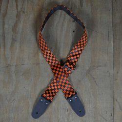 Orange & Black Checker Guitar Strap