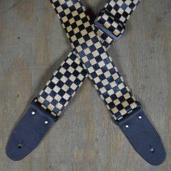 Tan & Black Checker Guitar Strap