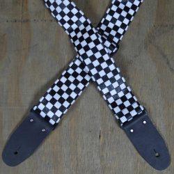 White & Black Checker Guitar Strap