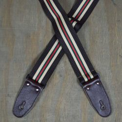 Dark Brown 50mm Striped Webbing Guitar Strap