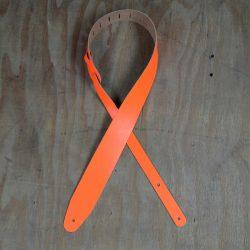 2.5″ Hi Vis Orange Leather Guitar Strap