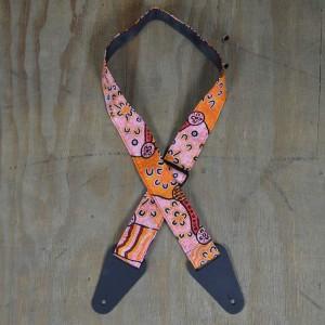Aboriginal Art Guitar Strap – Orange Dot