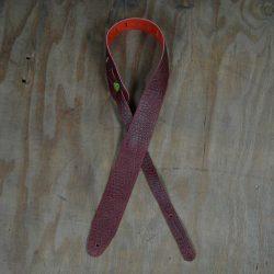 Burgundy Croc Stitched 2.5″ Leather Guitar Strap