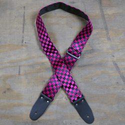 Pink & Black Checker Guitar Strap