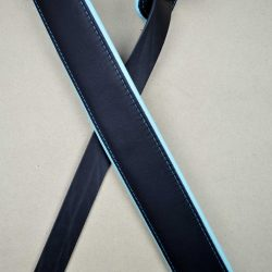2.0″ Padded Upholstery Leather Guitar Strap Black & Aqua