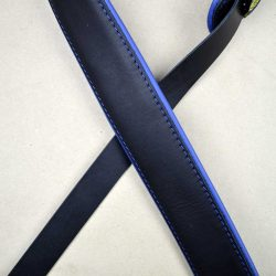 2.0″ Padded Upholstery Leather Guitar Strap Black & Blue