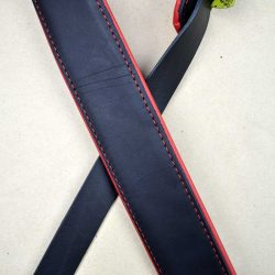 2.0″ Padded Upholstery Leather Guitar Strap Black & Red