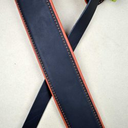 2.5″ Padded Upholstery Leather Guitar Strap Black & Orange