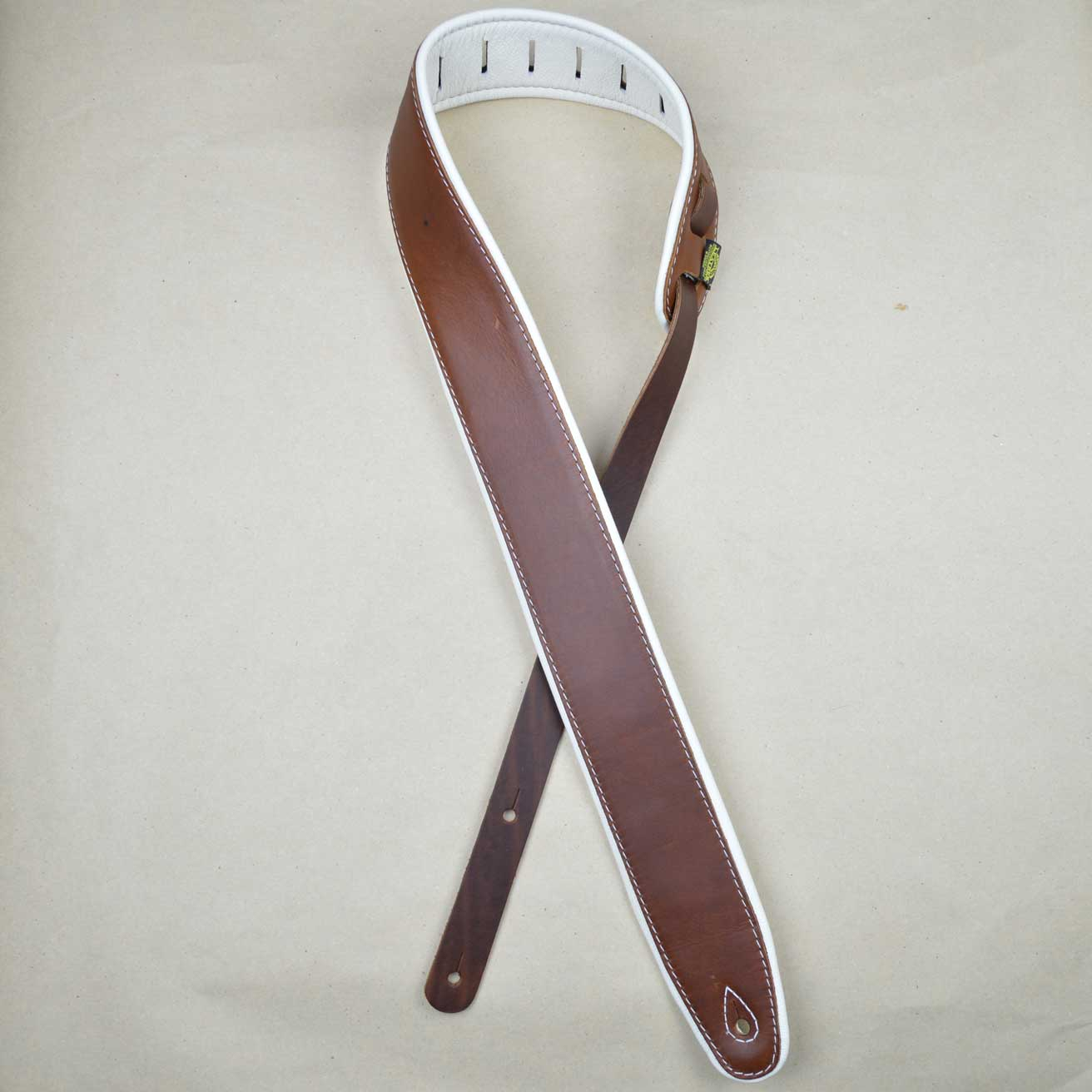 padded upholstery leather guitar strap brown white. Black Bedroom Furniture Sets. Home Design Ideas