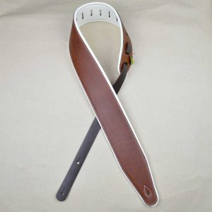 3.0″ Padded Upholstery Leather Guitar Strap Brown & White