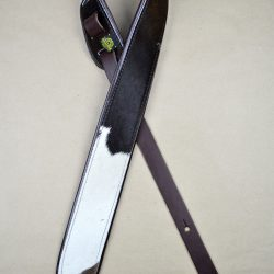 """2.5"""" Wide Genuine Hair On Cowhide With Brown Leather Back Guitar Strap"""