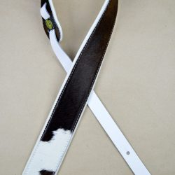 """2.5"""" Wide Genuine Hair On Cowhide With White Leather Back Guitar Strap"""