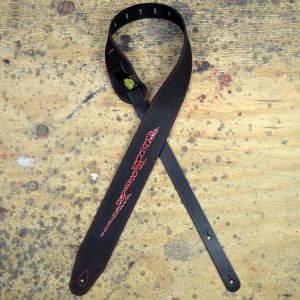 Red Croc Lightning Bolt on Black Leather Inlay Strap